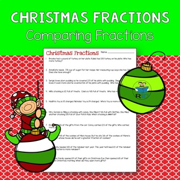Christmas Word Problems Comparing Fractions