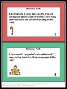 Christmas Word Problems Math Task Cards