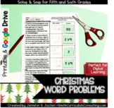 Christmas Word Problems Solve and Snip- 5th and 6th