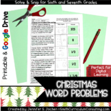 Christmas Math Word Problems Solve and Snip- 6th and 7th