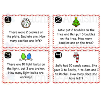 Christmas Word Problems Task Cards