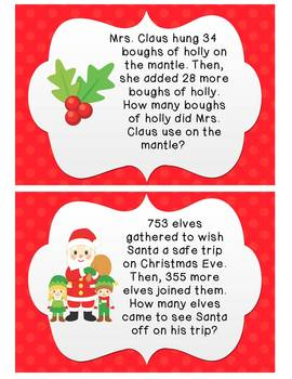 Christmas Word Problems with 2 and 3 digit add/sub with regrouping