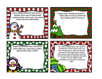 Christmas Word Problems with Answer Key