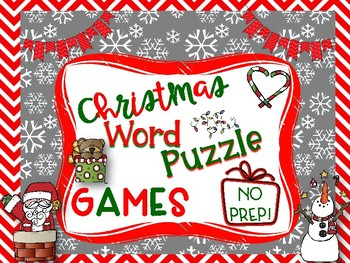 Christmas Word Puzzle Games-NO PREP-15 Puzzles to Keep Kids Engaged!