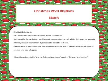 Christmas Word Rhythms Match