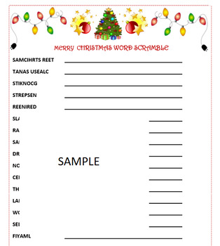 Christmas Word Scramble Game- Holiday Fun!  Printable