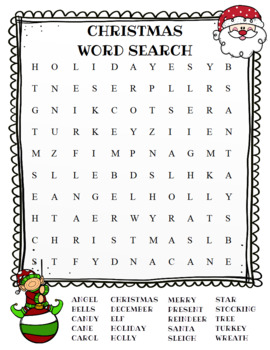 Christmas Word Search (color and BW versions)