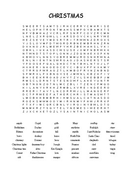 Christmas - Word Search - 53 words