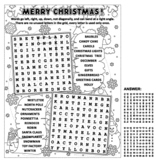 Christmas Word Search Puzzle, Black and White, Non-CU