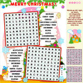 Christmas Word Search Puzzle, Illustrated, Commercial Use Allowed