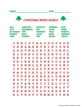 Christmas Word Search (Red and Green)