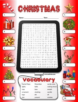 Christmas Word Search and Vocabulary Worksheet