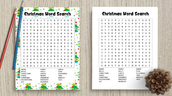 Christmas Word Search - holiday word search color & black and white versions