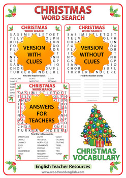 Christmas Word Search in English