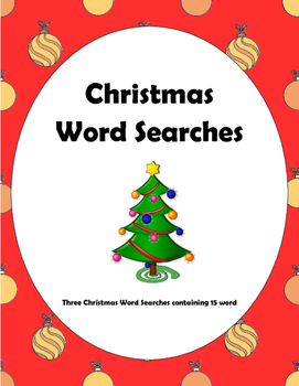 Christmas Word Searches for Primary Grades - 3 Word Finds.
