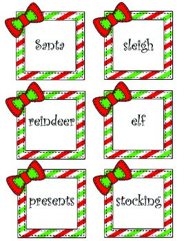 Christmas Word Sort Nouns, Verbs, Adverbs, Adjectives