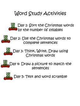 Christmas Word Study Unit
