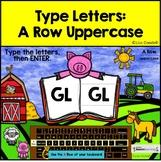 A Row Uppercase Typing Center - Internet - No Prep Boom Cards