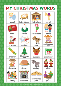 Christmas Word Wall Cards - 48 words