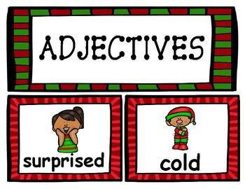 Christmas Word Wall - Nouns, Verbs, and Adjectives!