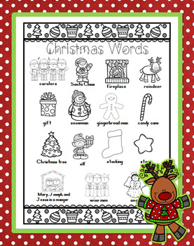 Christmas Word Wall for Daily 5 Writing Portfolios / Journals / Writing Center