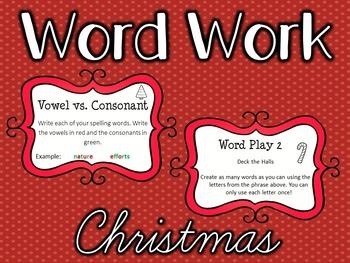 Word Work Task Cards - CHRISTMAS