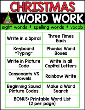 Christmas Spelling Words.Christmas Word Work Christmas Spelling Activities Editable