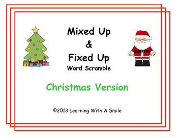 Christmas Word Work - Mixed Up & Fixed Up Sentence Scramble - Literacy Center