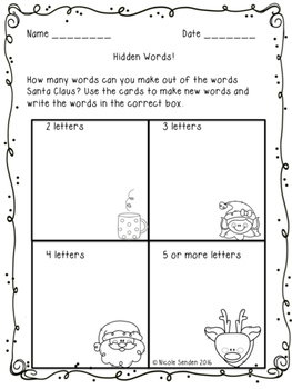 Christmas Word Work Pack!