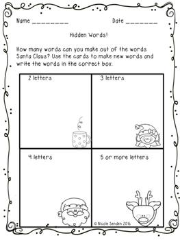 Christmas Word Work Pack!