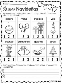 Christmas Word Work {SPANISH}