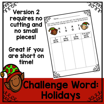 Christmas Word Work and Literacy Center Activity