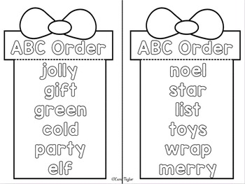Christmas Word Work for Interactive Notebooks