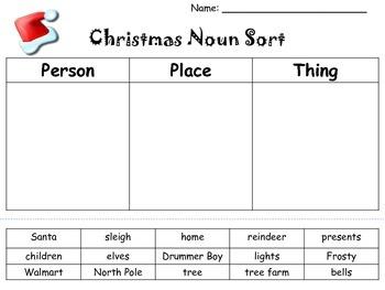 Christmas Word Work...Noun sort...Long/short vowels