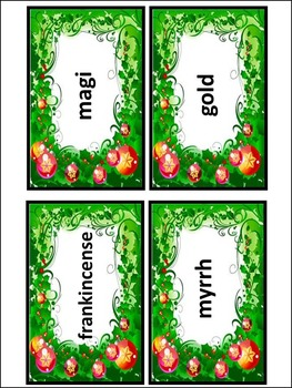 Christmas Activities: Christmas Words Flash-Card Activity Bundle - Color&BW