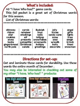 Christmas Word Work Game -I have Who Has?