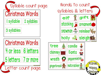 Christmas Activity ~ Christmas Letter/Syllable Count ~ Bonus: Vocabulary Cards