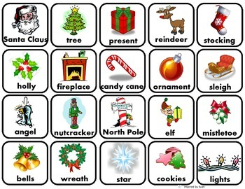 Christmas Words Matching/ Memory Game/Flashcards for Autism