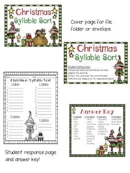 Christmas Words Syllable Sort
