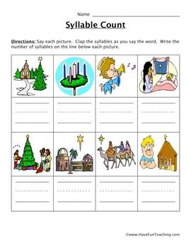 Christmas Religious Words Syllable Worksheet