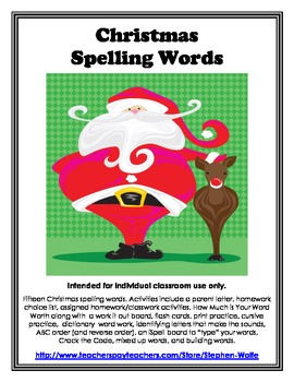 Christmas Words and Activity Packet