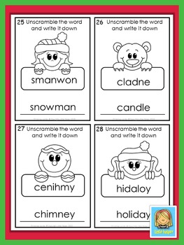 Christmas Words  jumbled letters