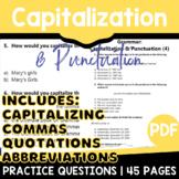 Capitalization and Punctuation Practice   ELA Test Prep   Grade 3-4 Grammar