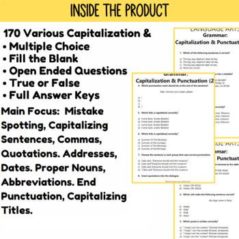Capitalization and Punctuation Practice | ELA Test Prep | Grade 3-4 Grammar