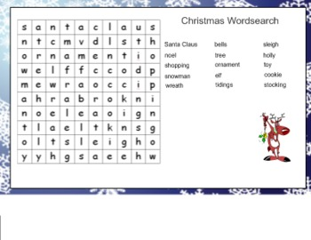 Christmas Wordsearch Puzzle for SMART Board