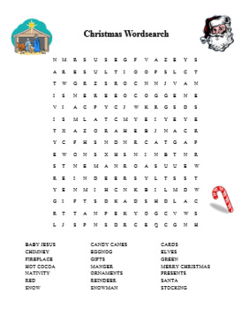 Christmas Wordsearch and Maze Religious Fun Christmas Activity