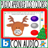 Christmas Working colors in Spanish Boom Cards PreK, K and Sped with audio