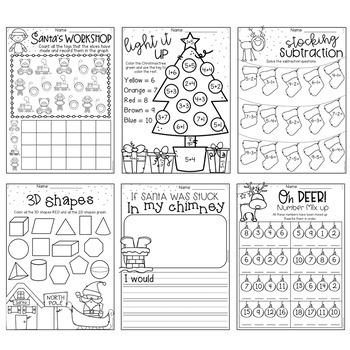 christmas worksheet booklet kindergarten first grade by. Black Bedroom Furniture Sets. Home Design Ideas