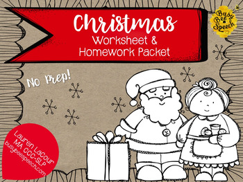 Christmas Worksheet & Homework Pack for Speech Therapy by Lauren ...
