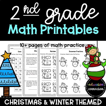 Christmas Worksheets: Math Practice Pages for 2nd Graders